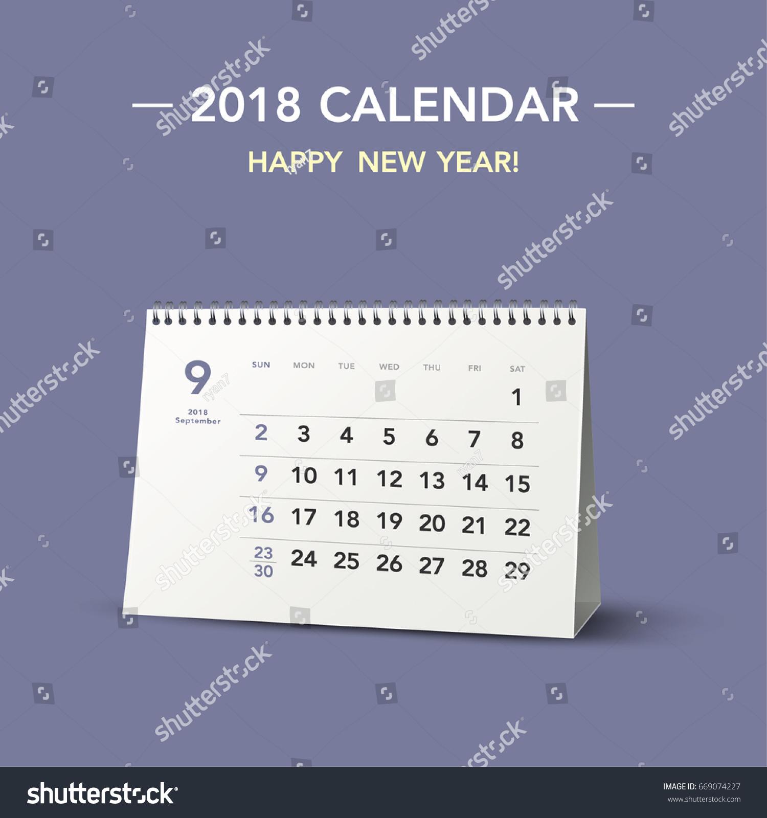 Simple Desk Calendar Layout 2018 Years Stock Vector 669074227