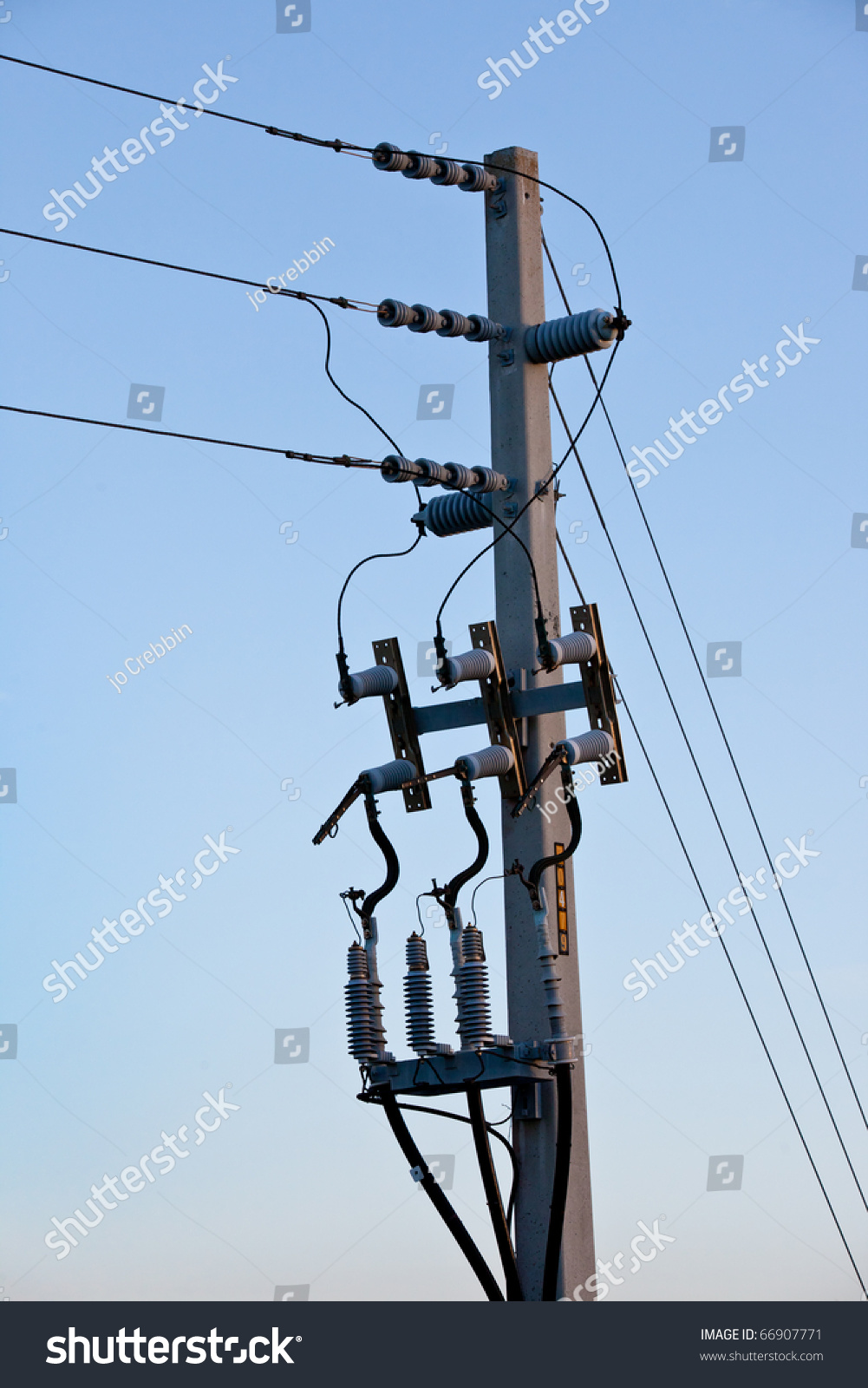 Power Telephone Pole Wires Cords Cables Stock Photo (Royalty Free ...