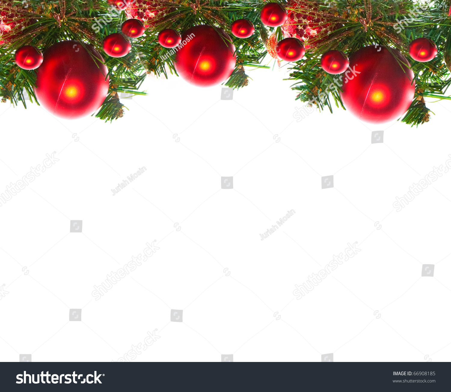 Border Of Red Christmas Garland With Baubles And Ribbons On White ...