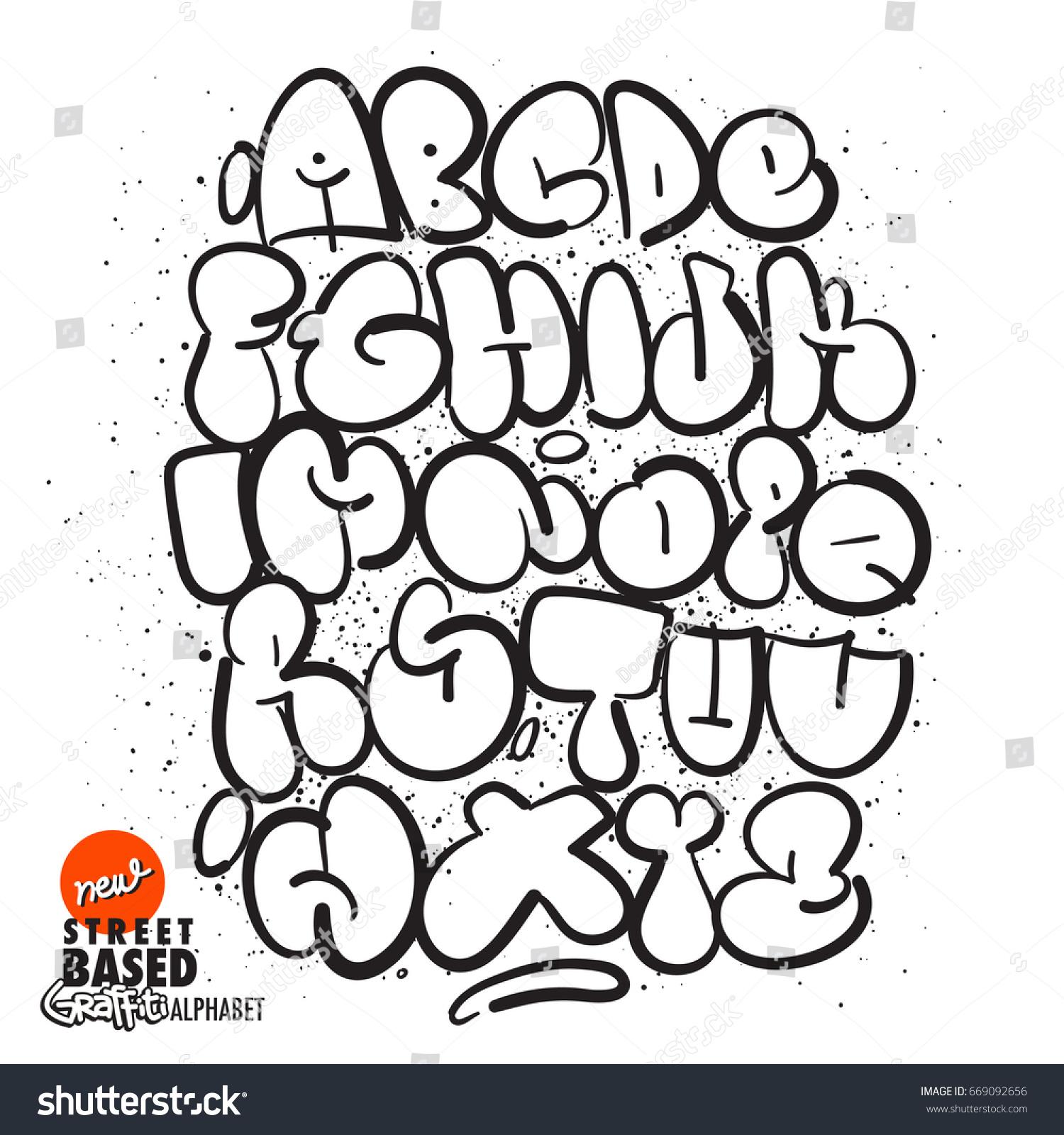 Handmade bubble graffiti alphabet