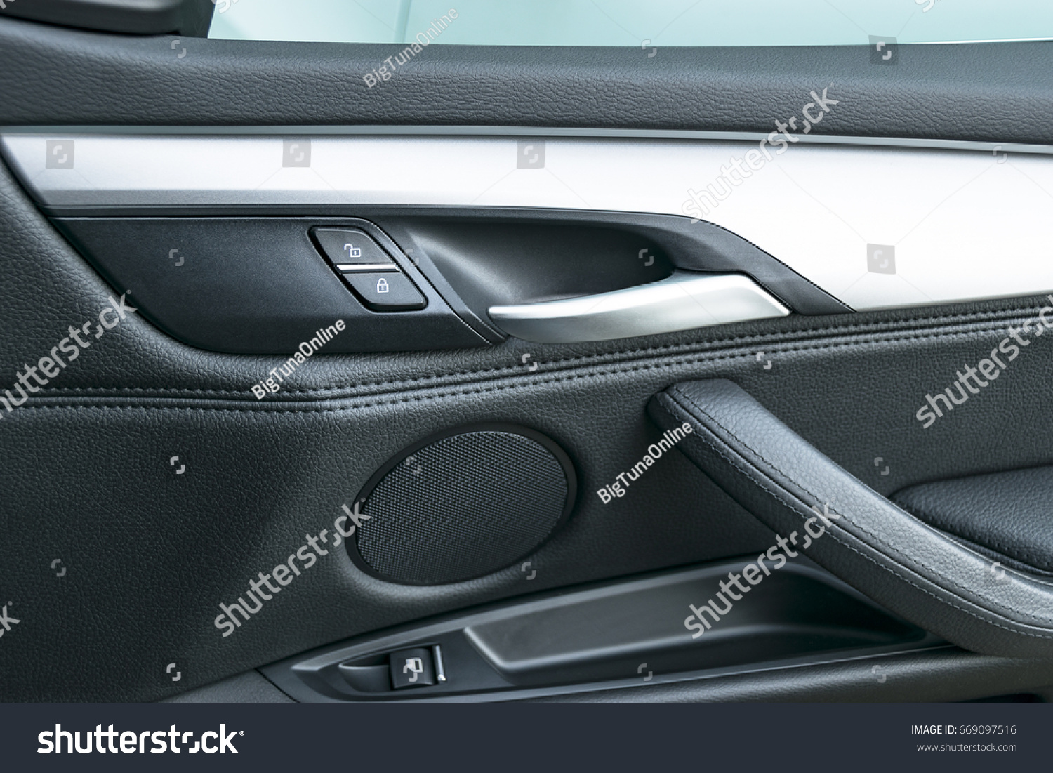 Car Door Handle Inside The Luxury Modern Car With Black Leather And