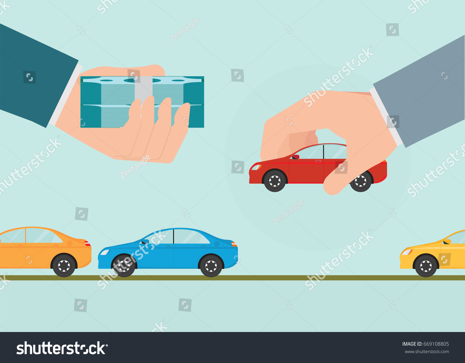 Buying New Car Conceptual Hand Holding Stock Vector 669108805 ...