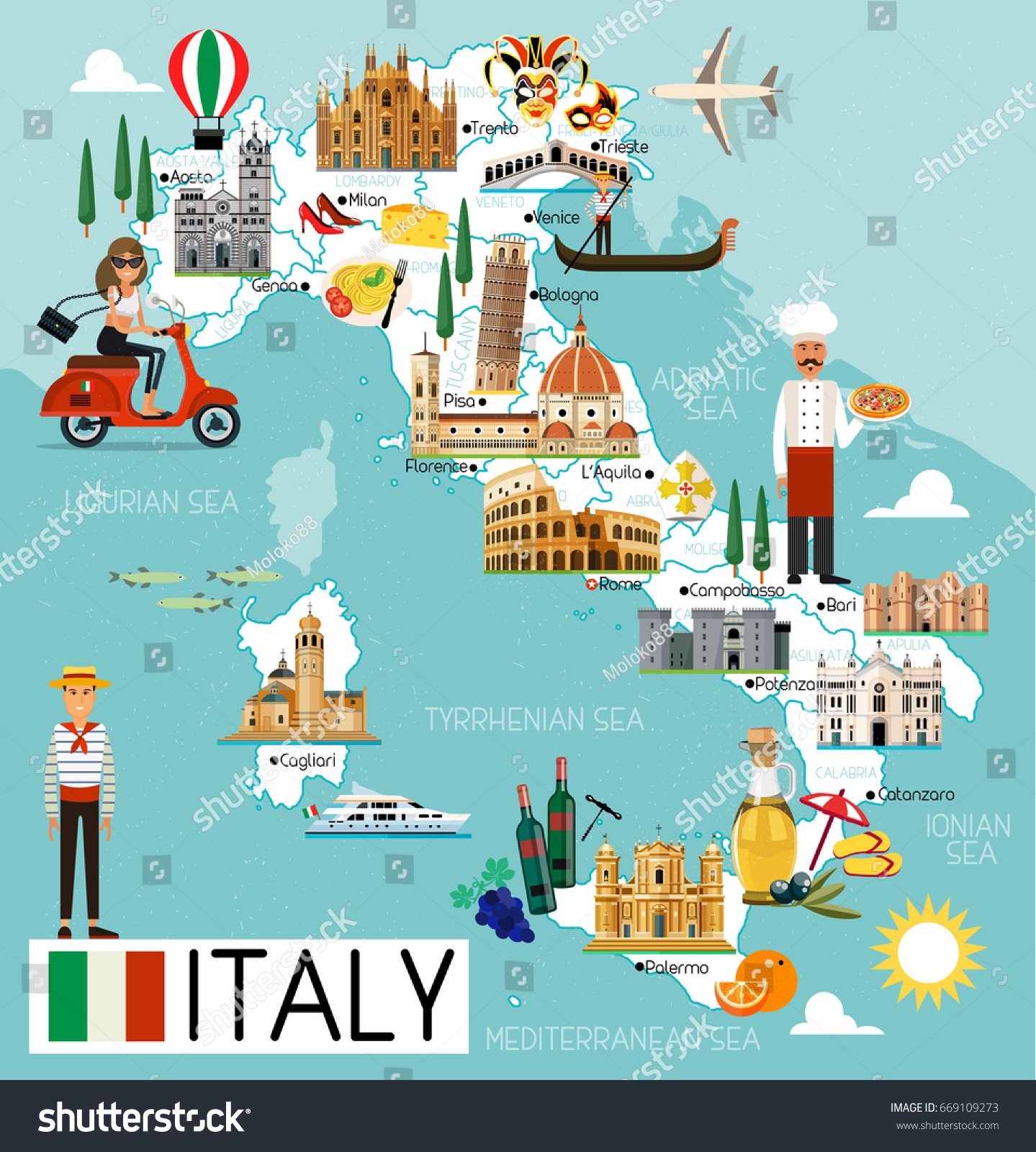 Map Italy Travel Iconsitaly Travel Map Stock Vector