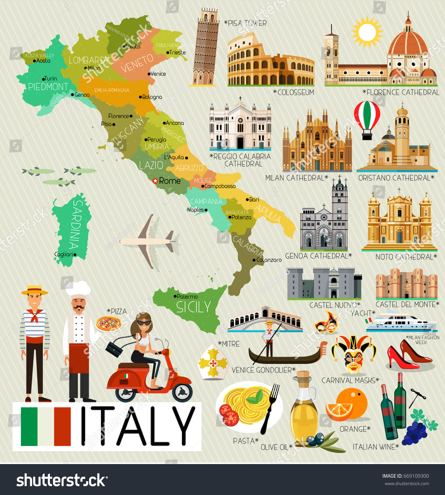 Map Italy Travel Iconsitaly Travel Map Stock Vector ...