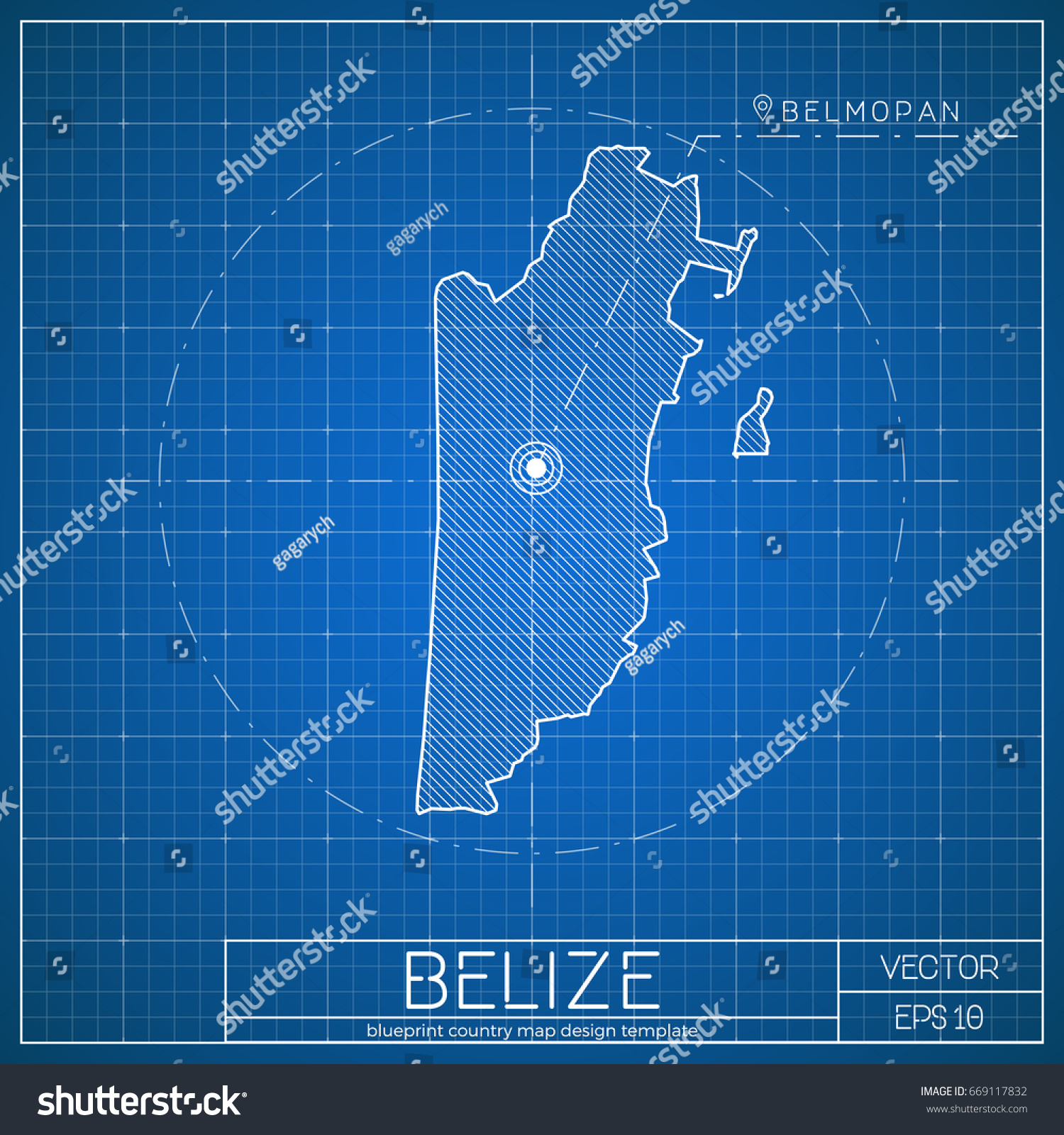 Belize blueprint map template capital city stock vector 669117832 belize blueprint map template with capital city vector illustration malvernweather Image collections