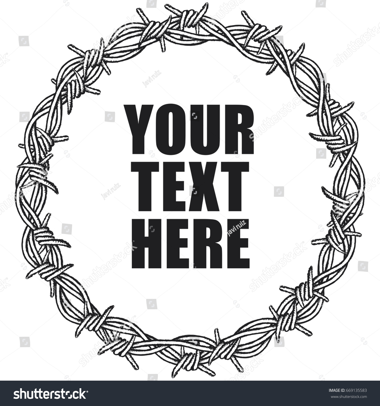 Circular Border Barbed Wire Clipart Illustration Stock Vector ... for Wire Clipart Black And White  268zmd