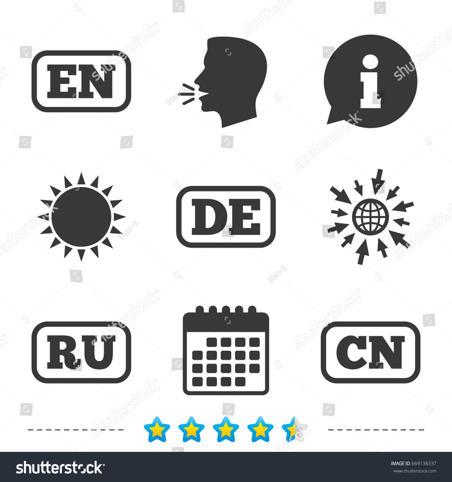 Language icons en de ru cn stock illustration 669138337 shutterstock en de ru and cn translation symbols english german biocorpaavc