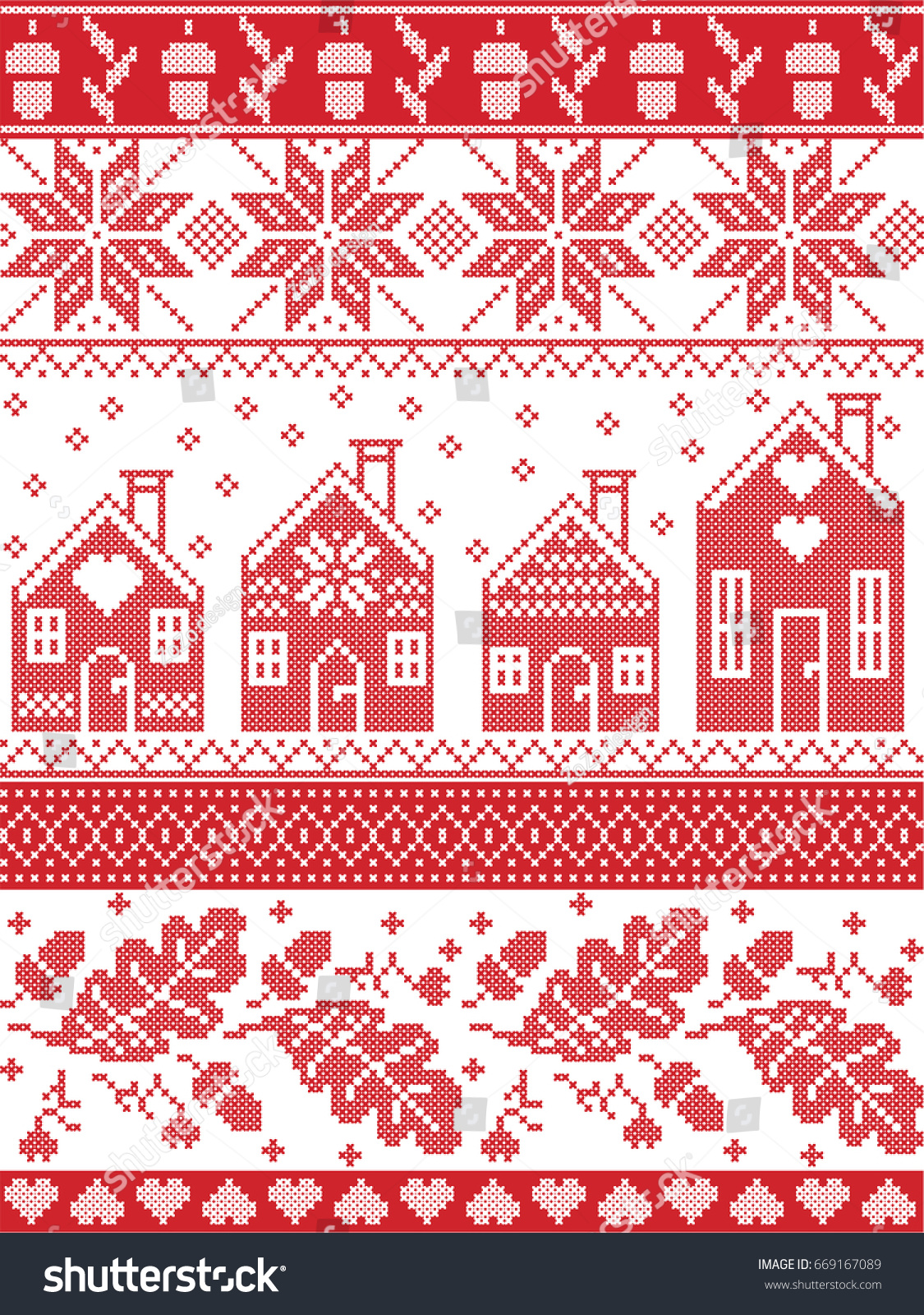 Scandinavian Norwegian Christmas Folk Inspired Festive Stock Vector ...