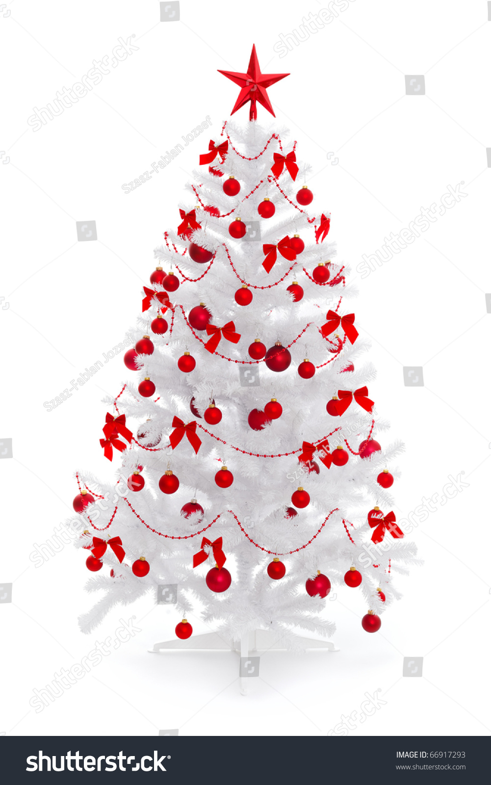 White christmas tree with red decorations - White Christmas Tree With Red Decoration Isolated On White Preview Save To A Lightbox