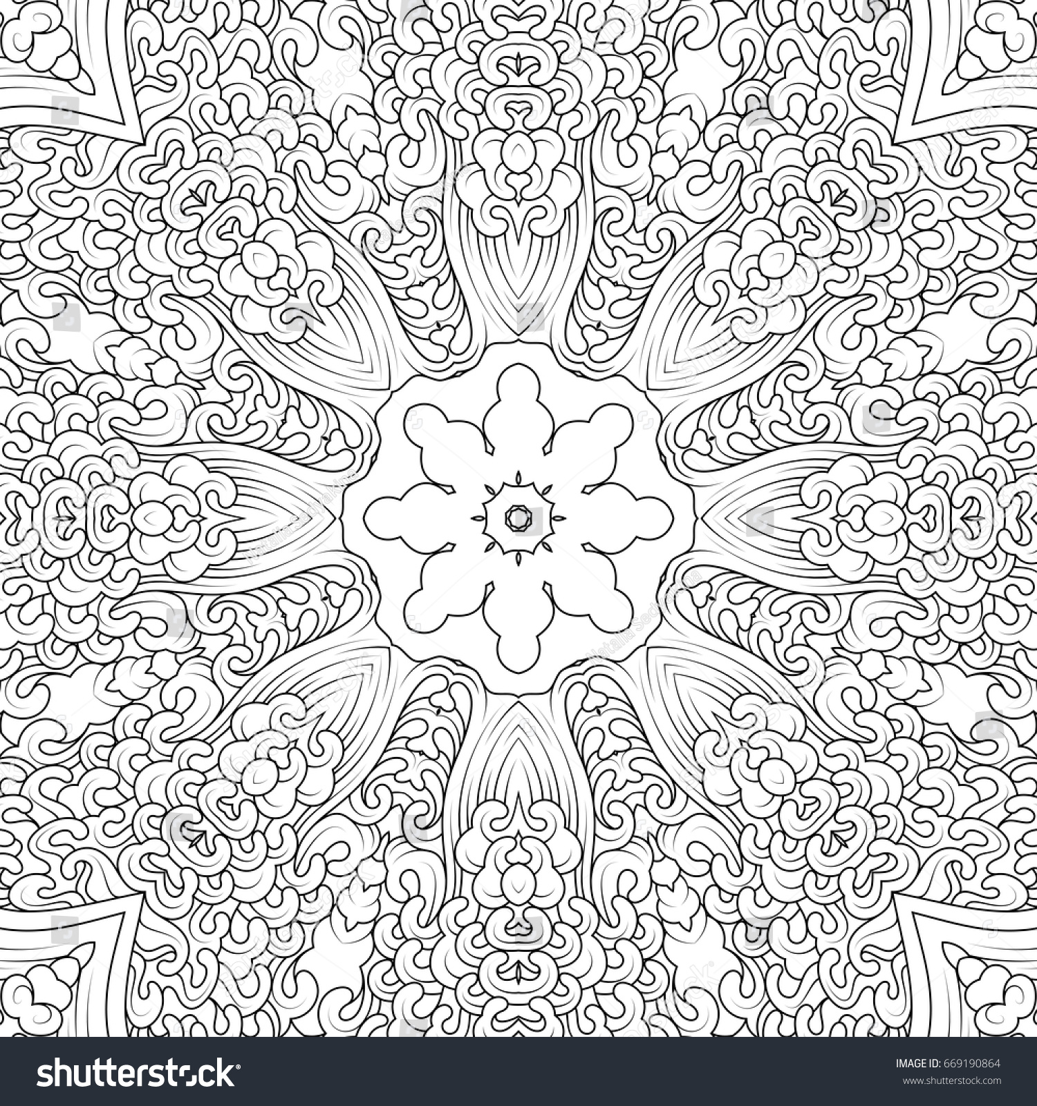 Monochrome Contour Mandala In Tibetan Iconography Style Adult Coloring Books Design Vector Illustration
