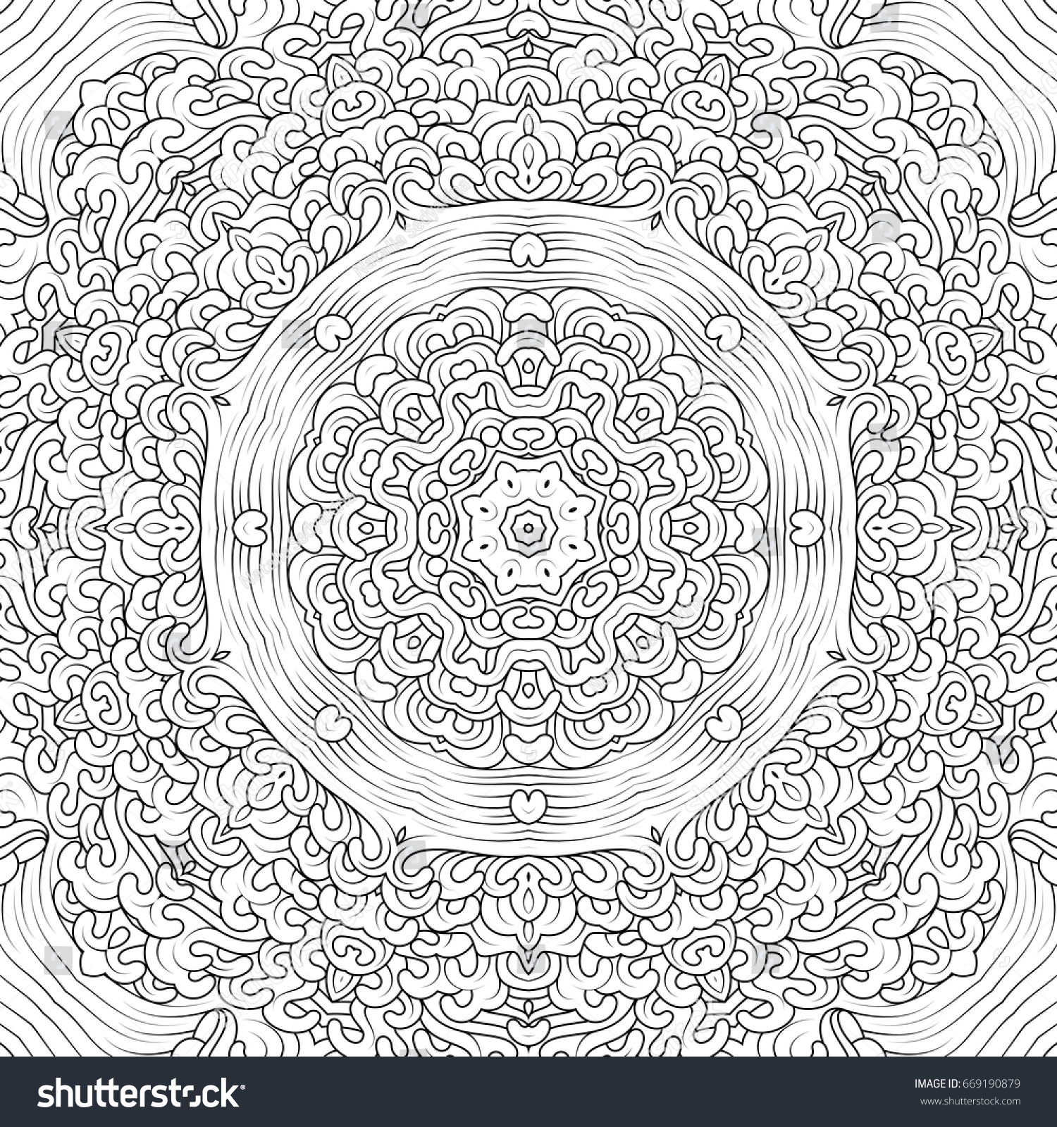 Monochrome Contour Mandala In Tibetan Iconography Style Adult Coloring Books Design Vector