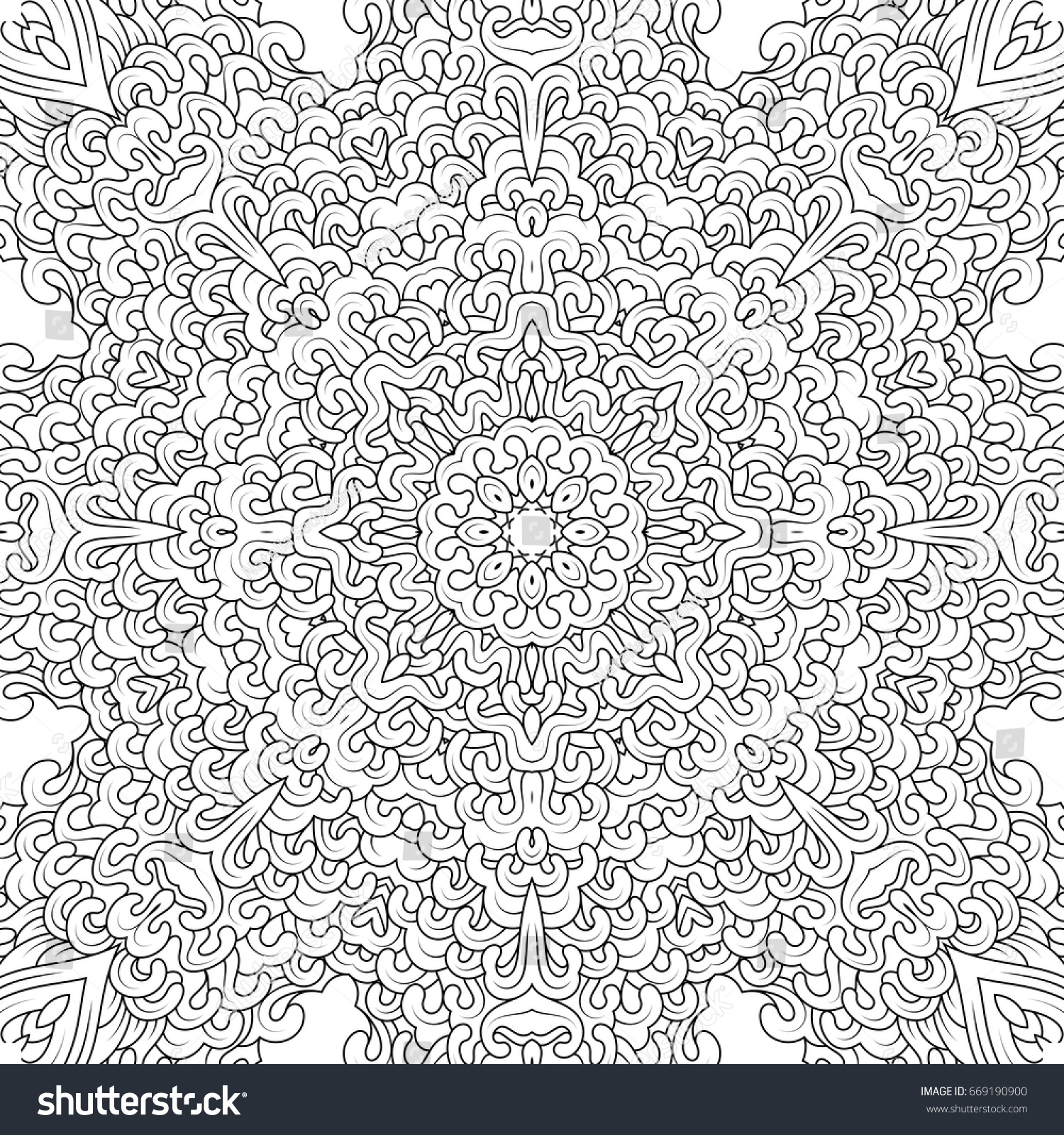 Vector Black And White Contour Mandala In Tibetan Iconography Style Adult Coloring Books Design