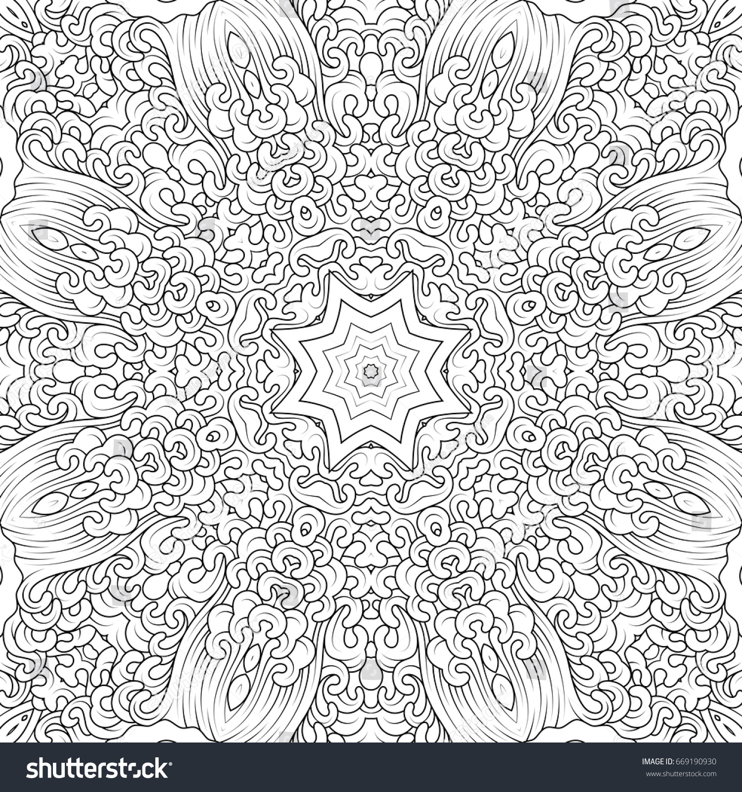 Black And White Contour Mandala In Tibetan Iconography Style Adult Coloring Books Design Vector
