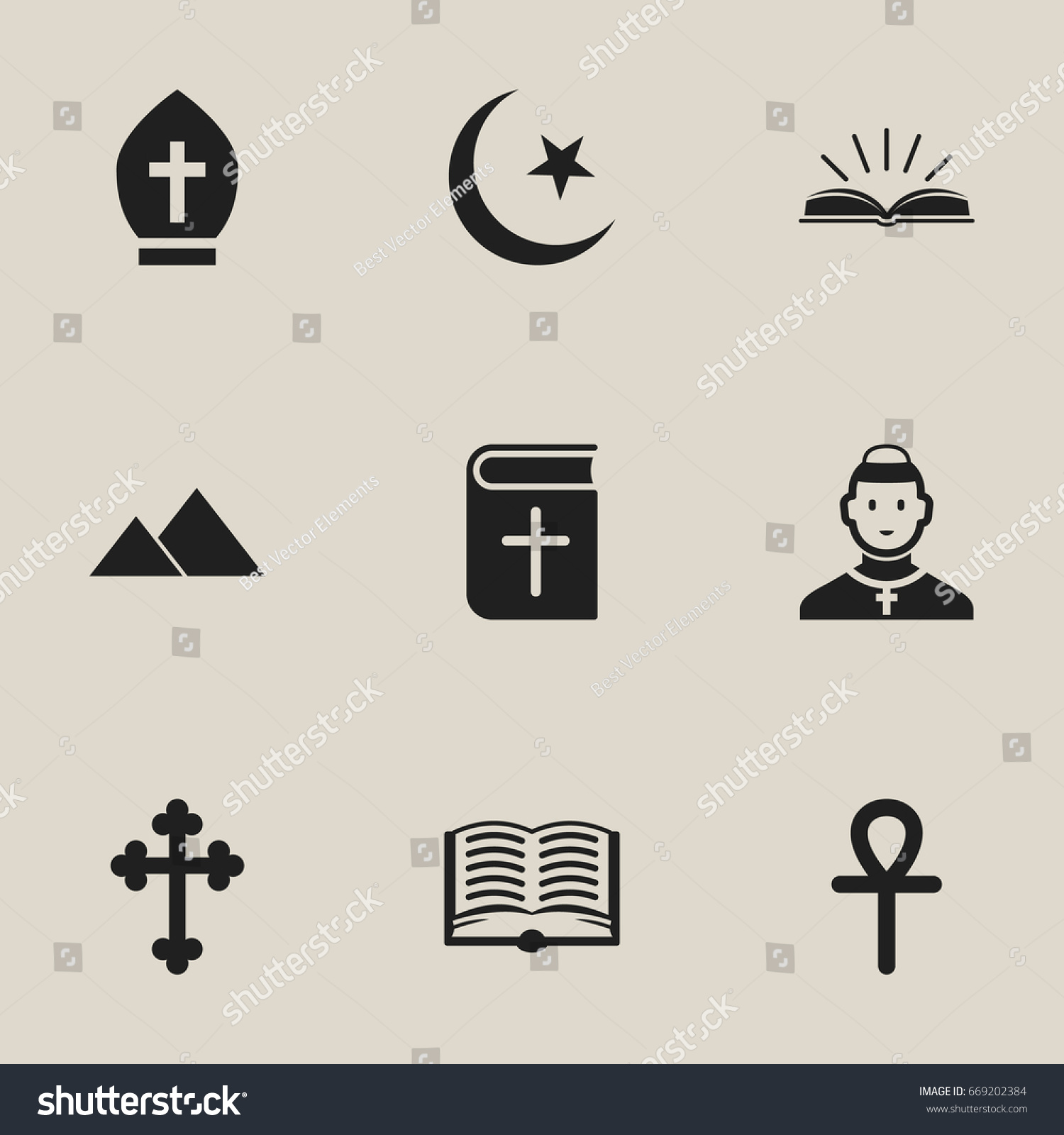 Set 9 editable faith icons includes stock vector 669202384 set of 9 editable faith icons includes symbols such as crucifix pope headwear biocorpaavc Gallery