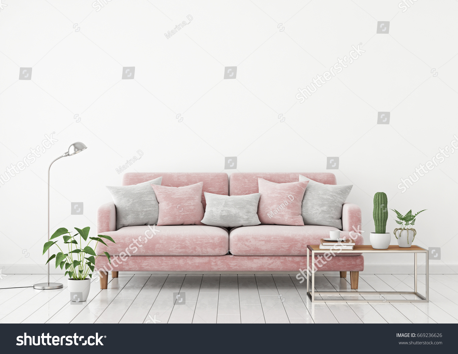Livingroom Interior Wall Mock Pink Fabric Stock