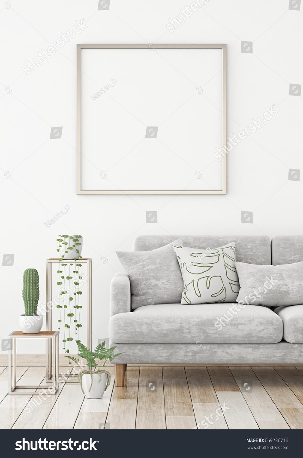 Interior Poster Mock Square Frame On Stock Illustration 669236716 ...