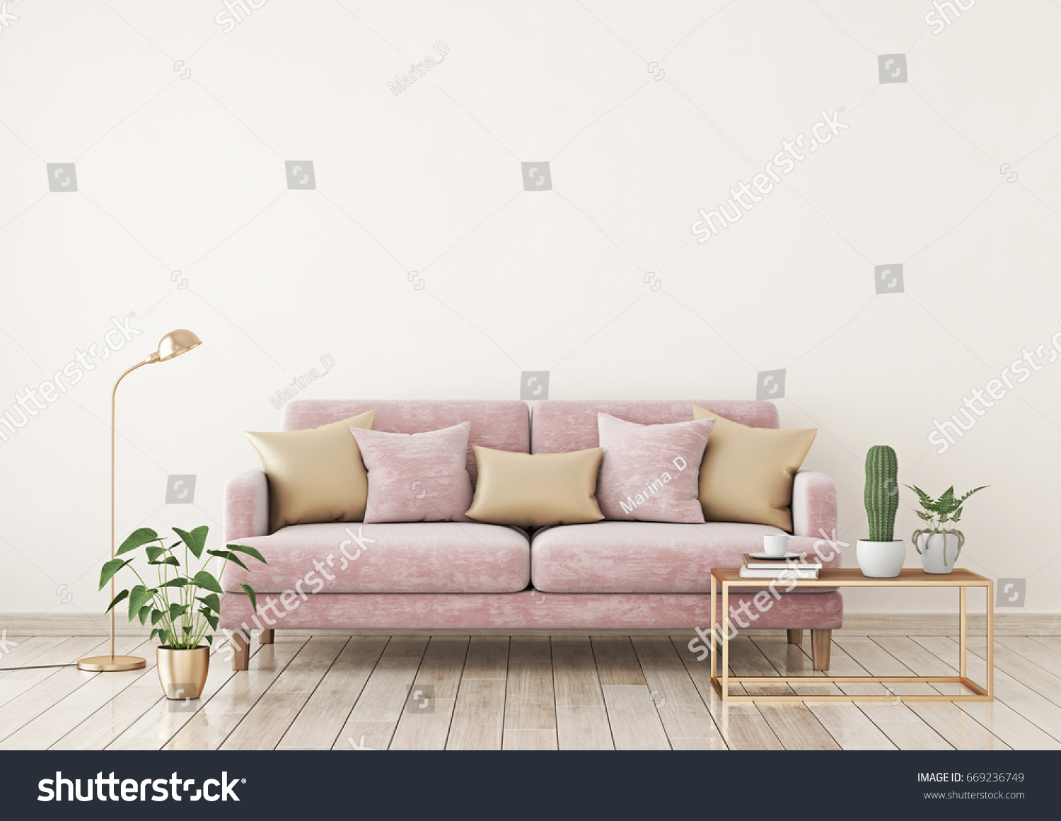 Livingroom Interior Wall Mock Up With Pink Fabric Sofa And Pillows On Light Beige Background
