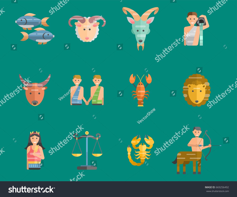 Zodiac Signs Flat Set Horoscope Symbols Stock Vector Royalty Free