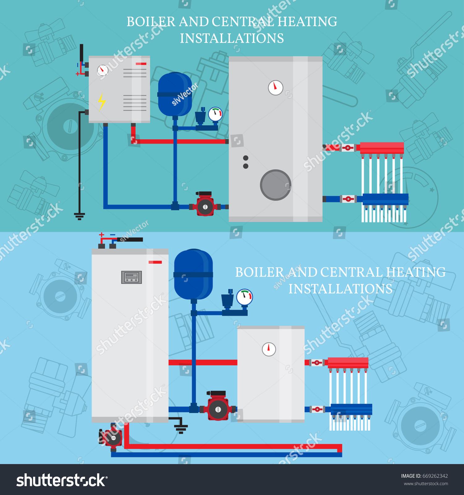 Boiler Central Heating Installations Flat Heating Stock Vector ...