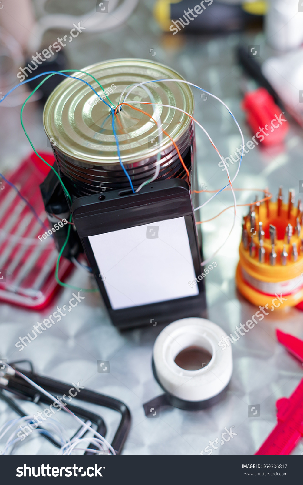 Close Improvised Homemade Bomb Explosive Device Stock Photo Edit Wwwhomemadeelectronicscom Up Of An In Blurred Background