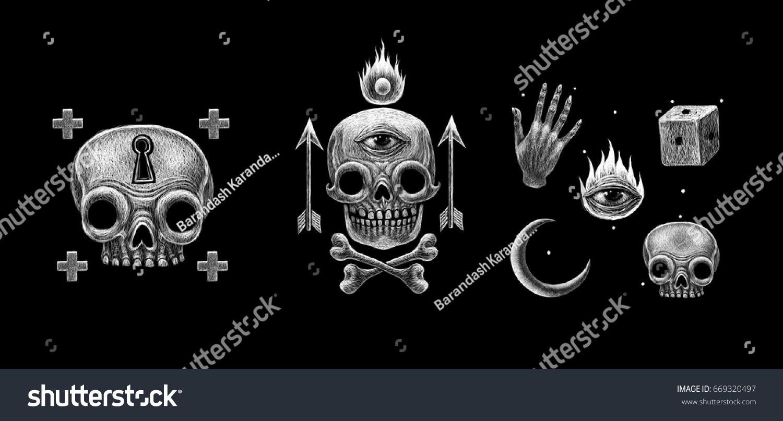 Secret Mystical Occult Symbols Signs Set Stock Illustration