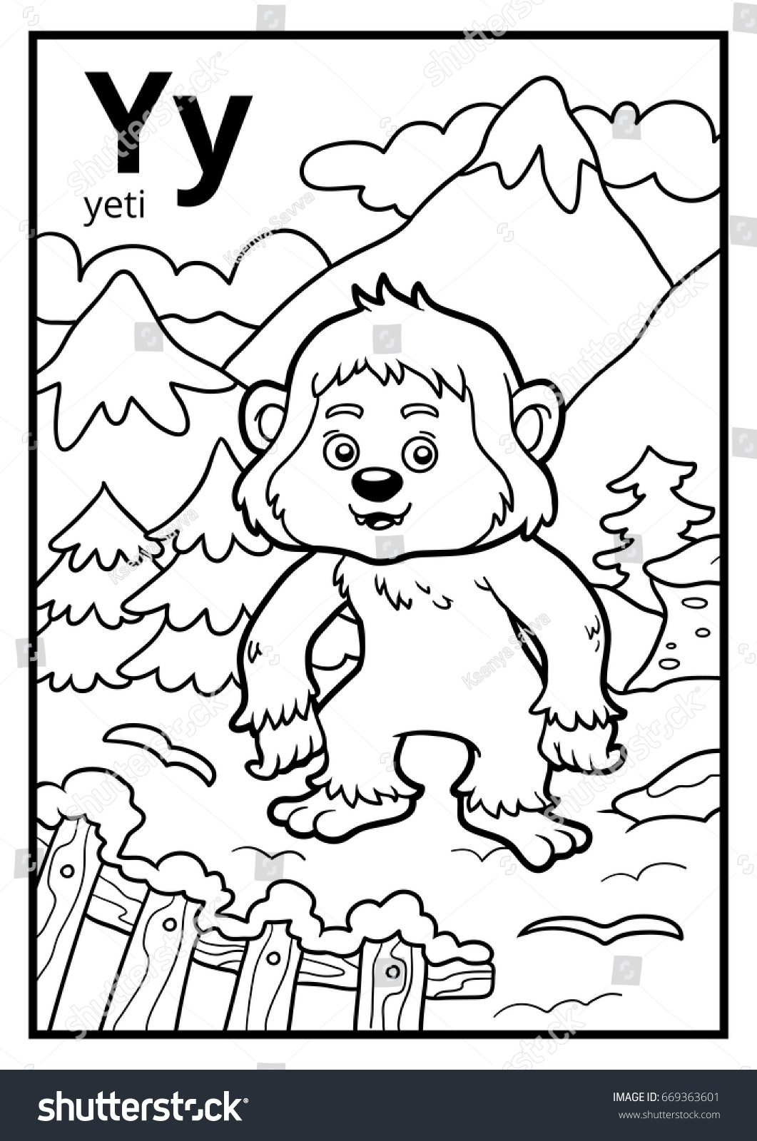 Coloring Book For Children Colorless Alphabet Letter Y Yeti