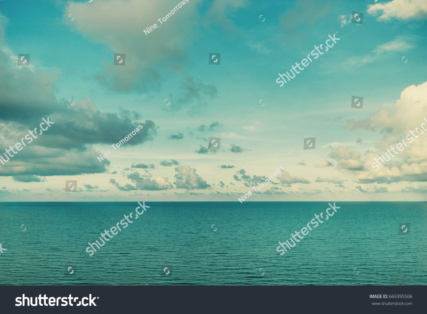 Majestic Beautiful White Clouds And The Calm Azure Sea Background Wallpaper Sunny Summer Day