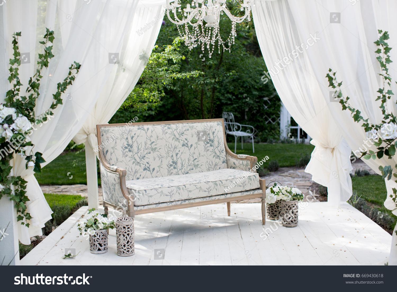 Wedding decoration setup sofa flowers stock photo 669430618 wedding decoration setup with a sofa and flowers junglespirit Image collections