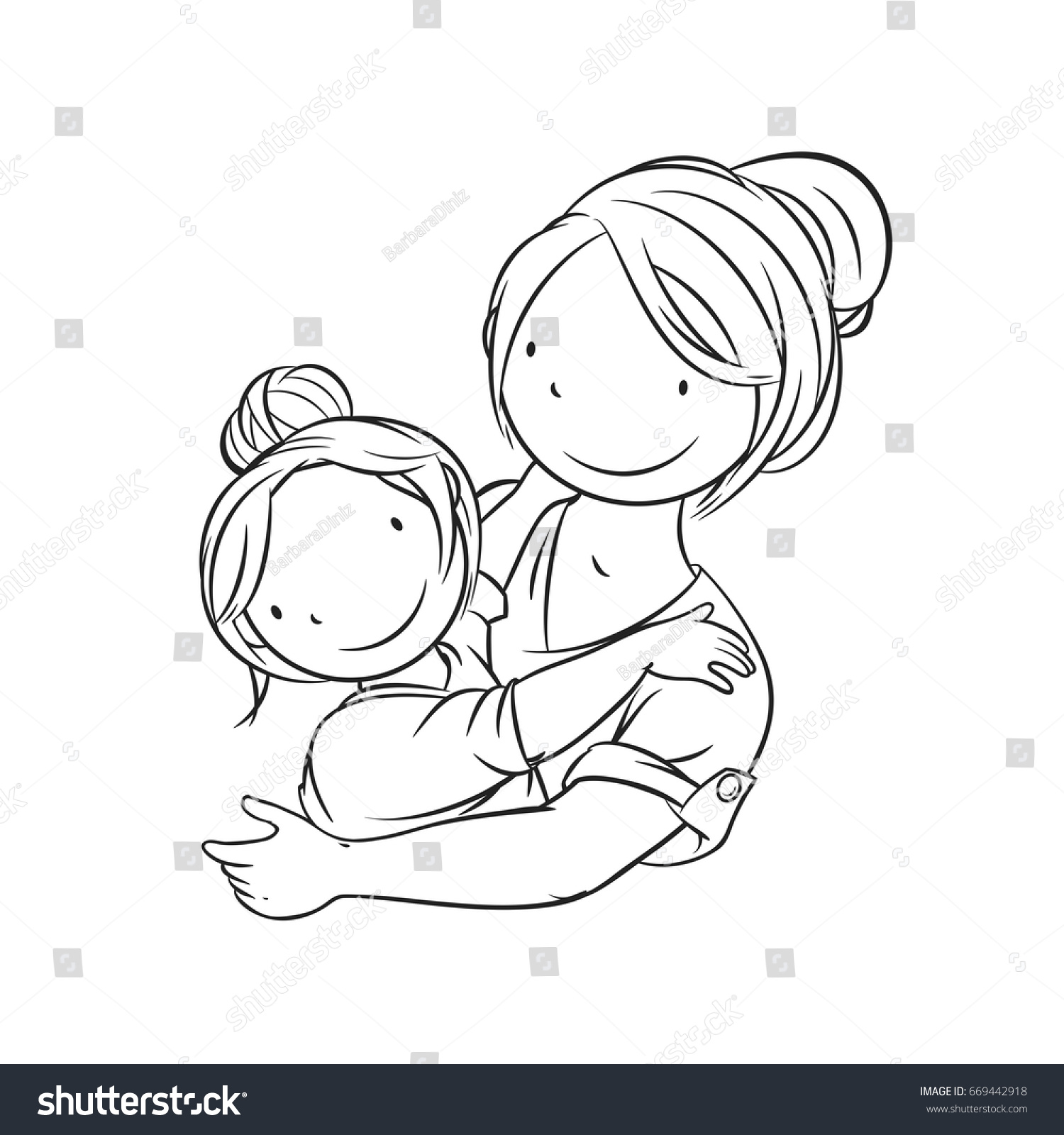 Mother Embracing Her Child Coloring Page Vector Illustration