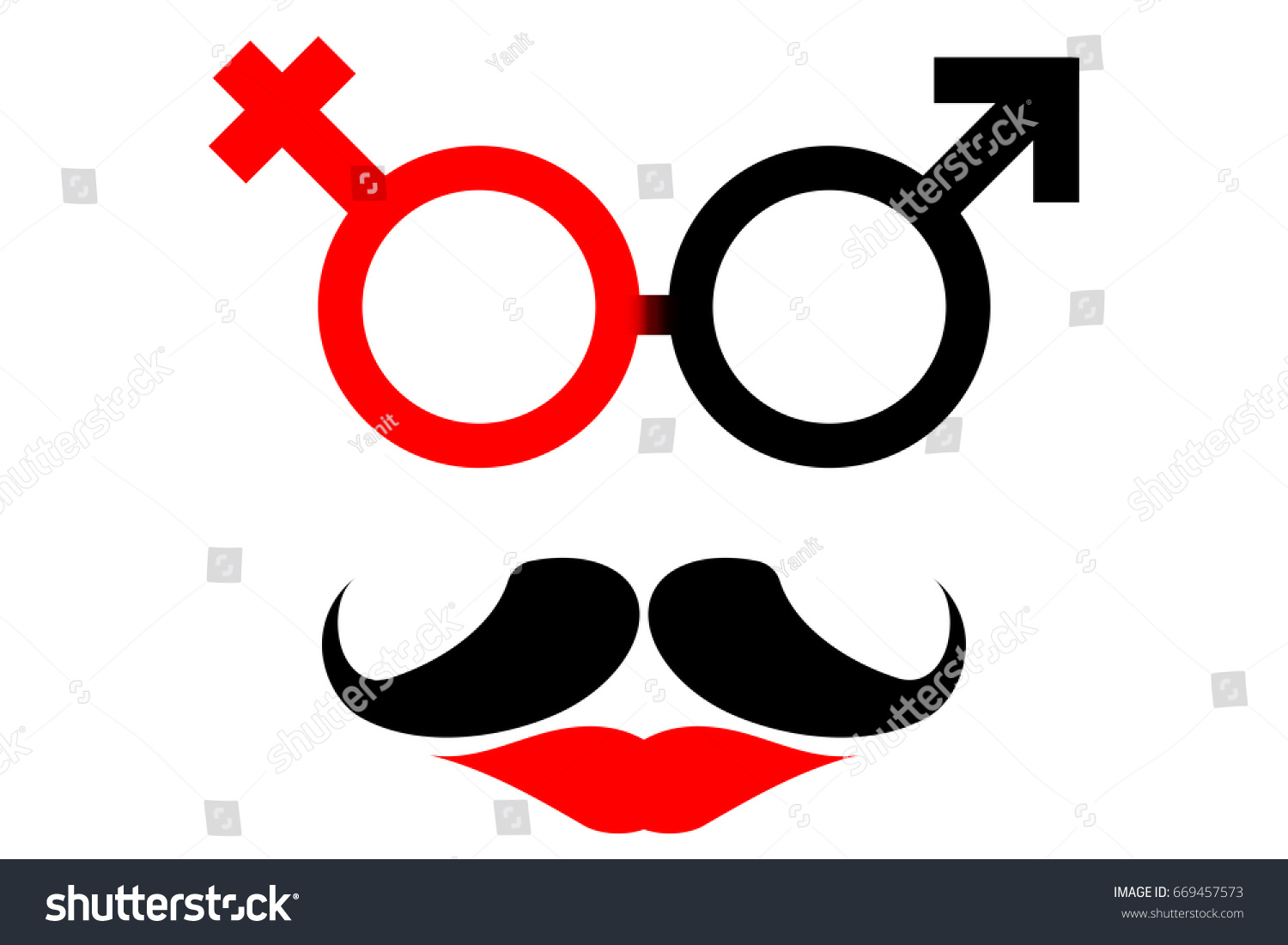 Transgender symbol merger male female sex stock vector 669457573 transgender symbol a merger of male and female sex symbol with beard and red lip biocorpaavc Gallery