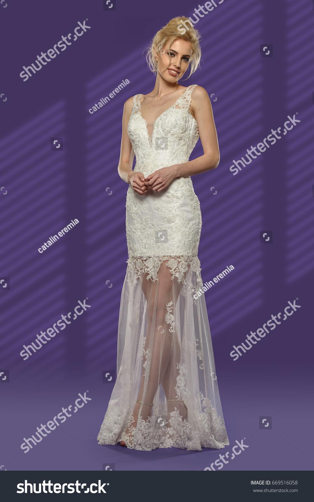 Woman Wedding Dress Studio Portrait On Stock Photo Edit Now