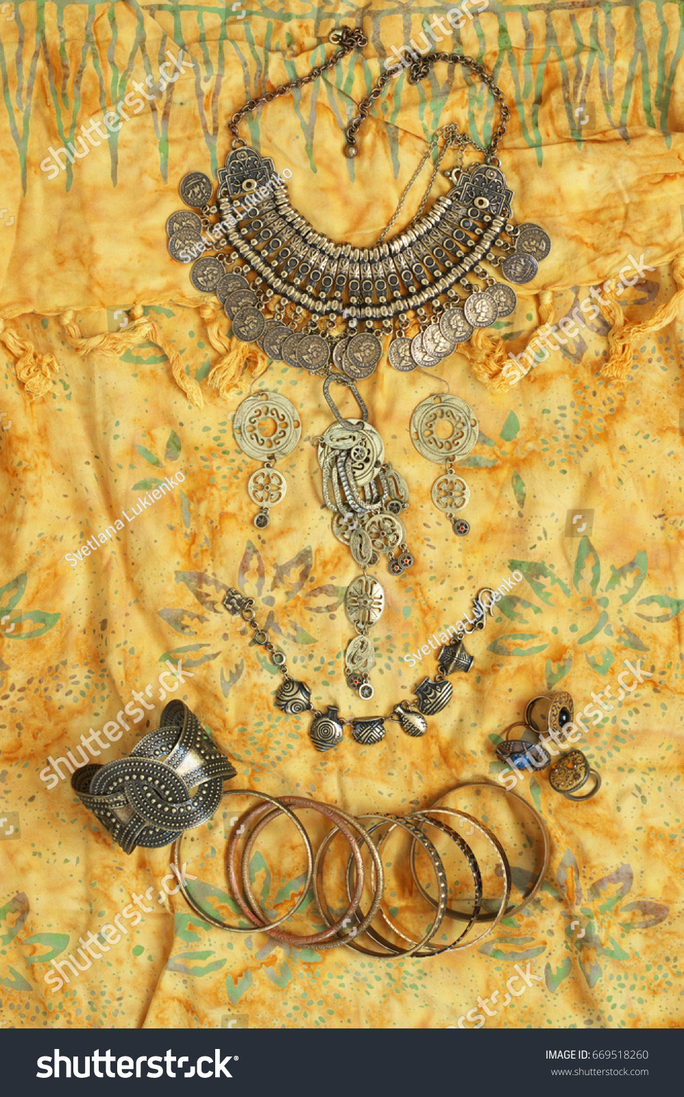 Bohemian Chic Bronze Jewelry Set On Stock Photo 669518260 - Shutterstock