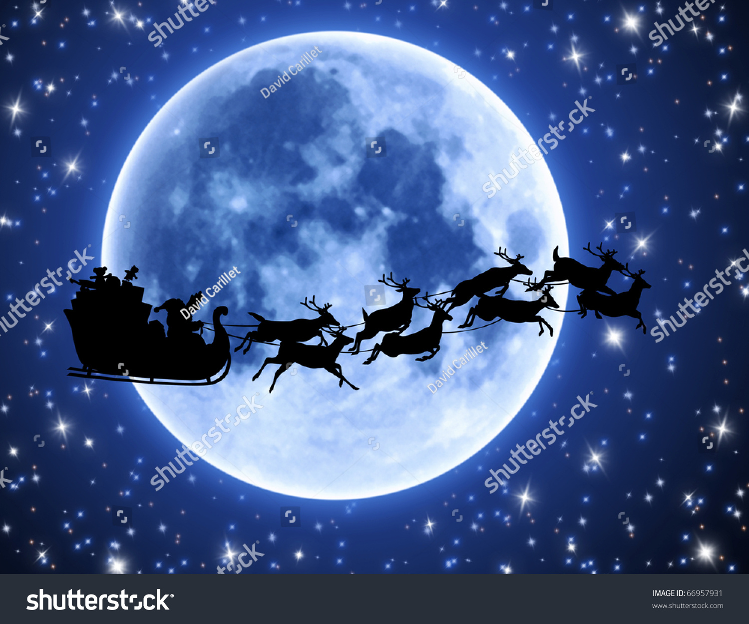 Santa'S Sleigh And Reindeer Silhouette With Full Moon And Stars Stock ...