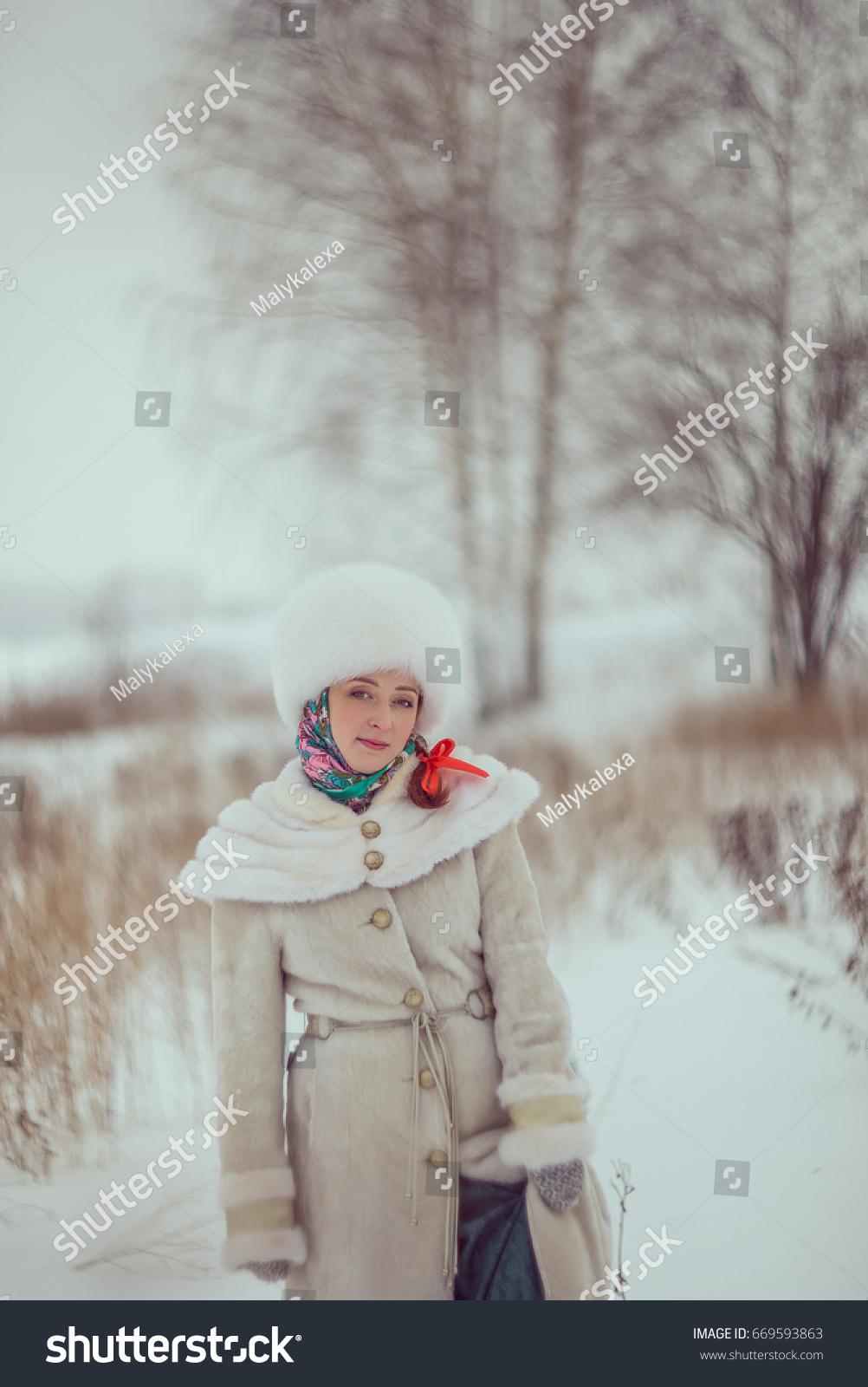 4b52a87b1714a Girl White Fur Coat Fur Hat Stock Photo (Edit Now) 669593863 ...