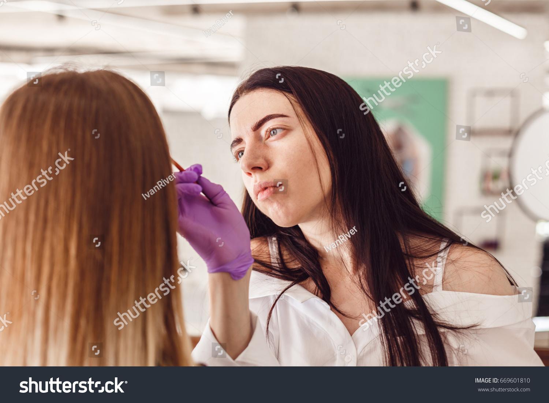 Makeup Artist Applies Paint Henna On Stock Photo Edit Now