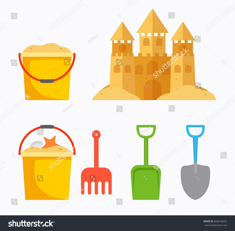 Beach Sand Castle Childrens Bucket Sand Stock Vector (Royalty Free ...