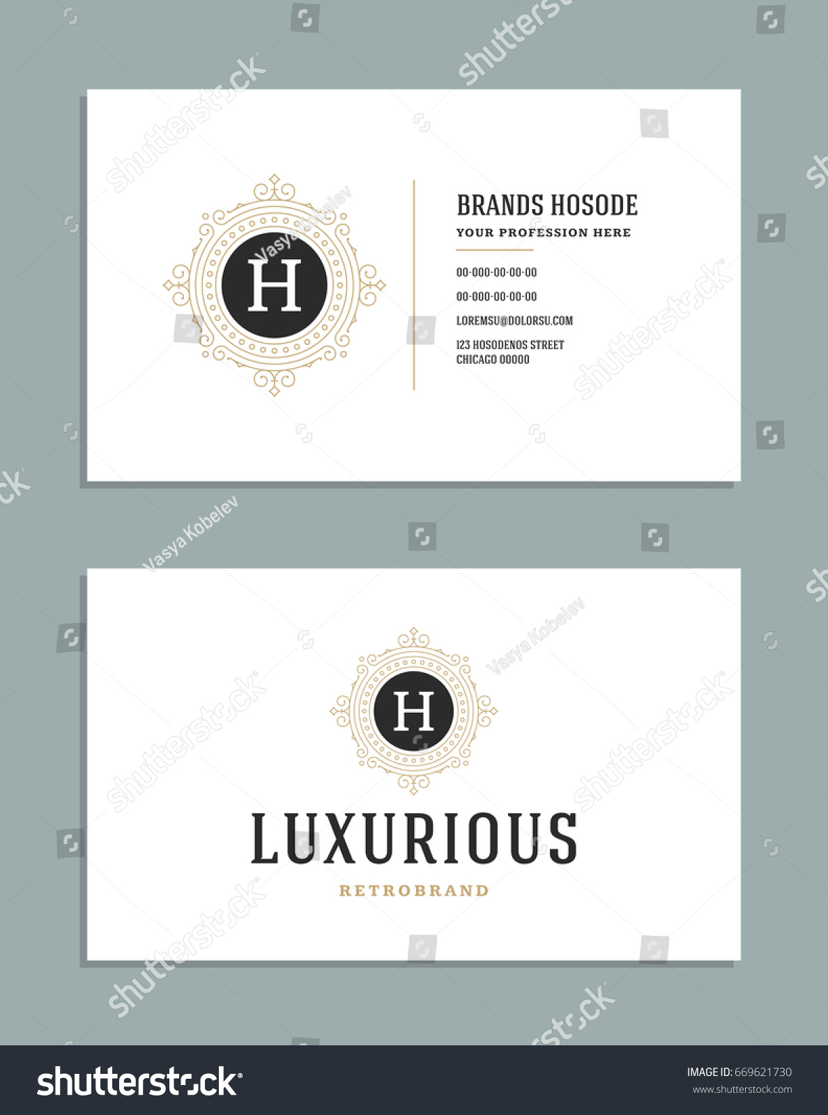 Business card vintage ornament style vector stock vector 669621730 business card vintage ornament style vector template retro luxury style royal design flourishes magicingreecefo Gallery