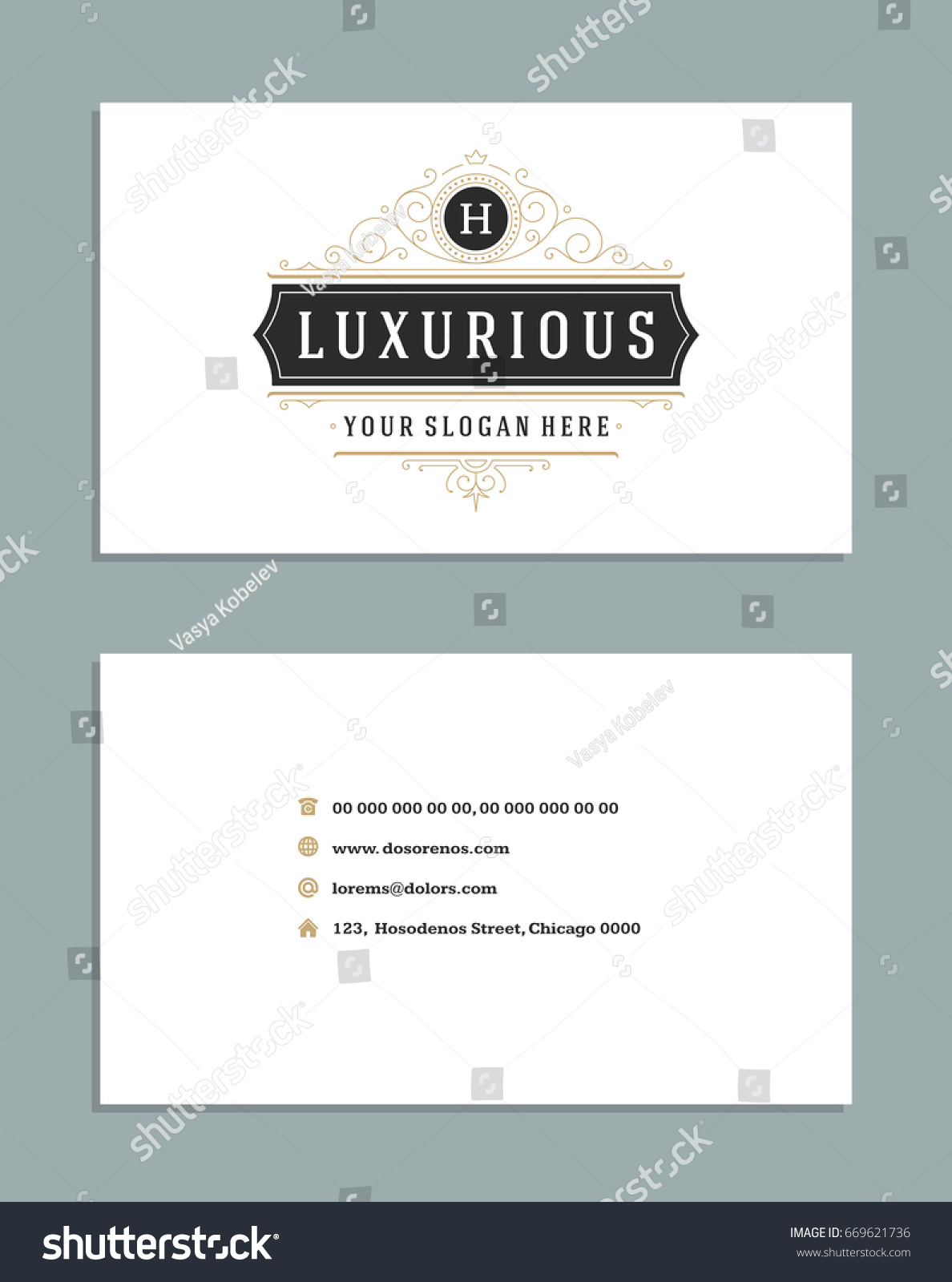 Business Card Vintage Ornament Style Vector Stock Vector 669621736 ...