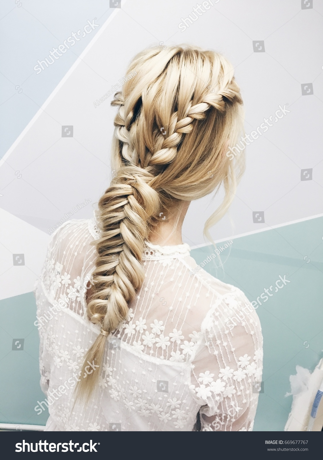Stylish Hairstyle Closeup Blonde Girl White Stock Photo (Royalty ...