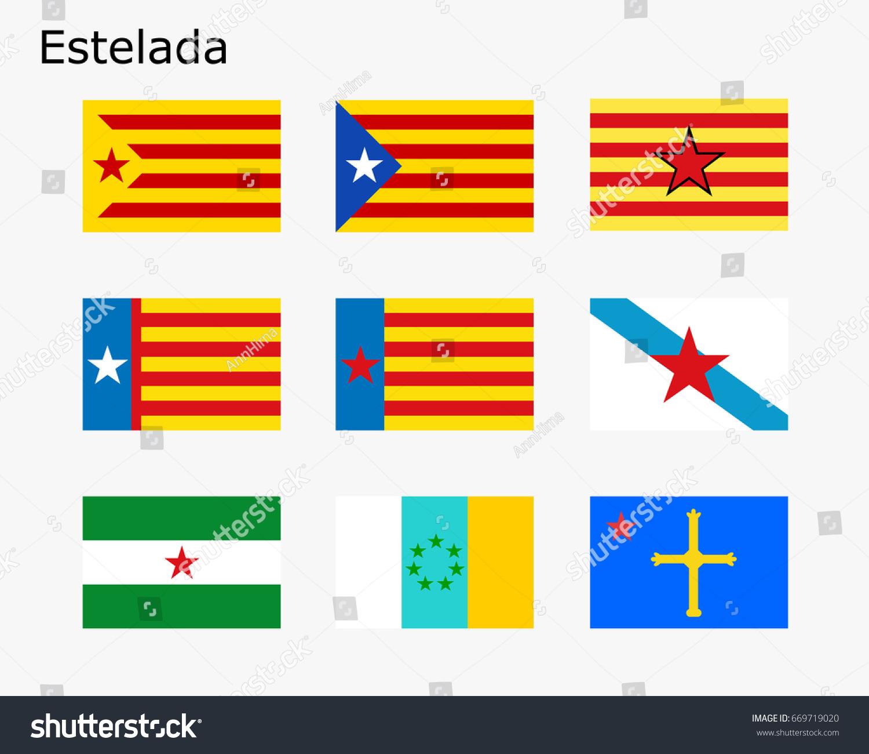 flags estelada flags separatist movements spain stock vector