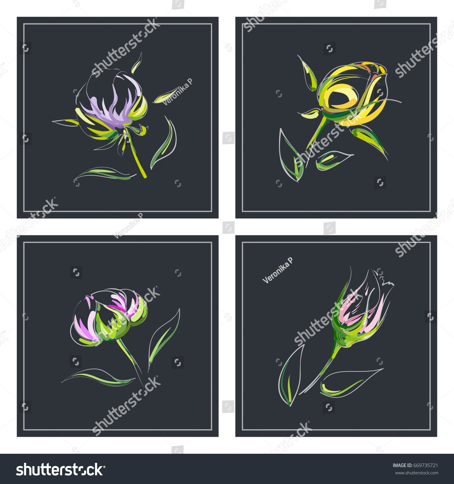 Set Greeting Card Different Types Handdrawn Stock Vector Royalty