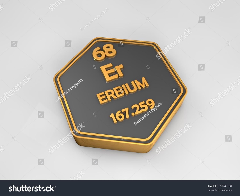 Erbium Er Chemical Element Periodic Table Hexagonal Shape 3d