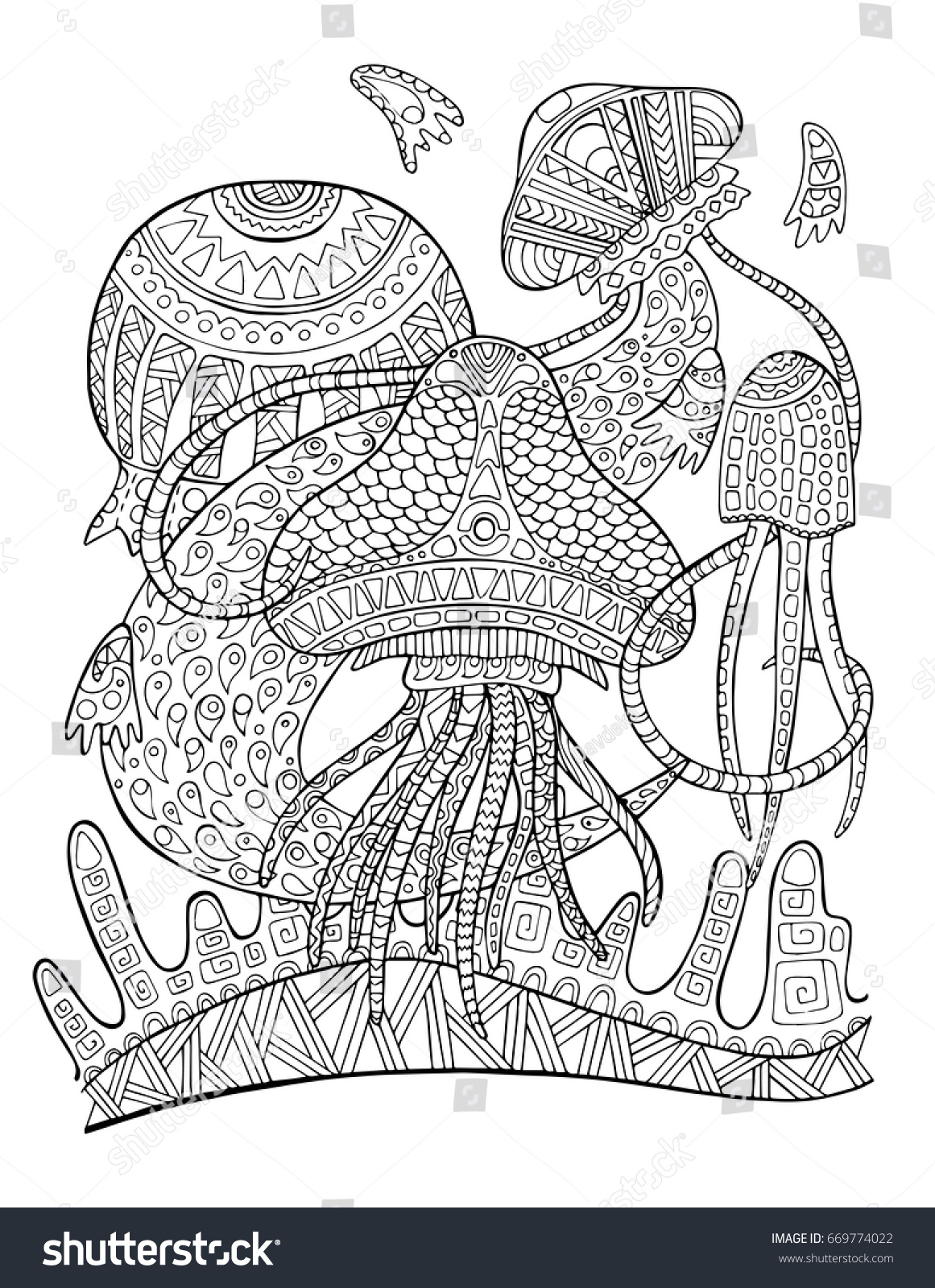 Jellyfish Animal Coloring Pages. Jellyfish underwater coloring page  Tropical fish doodle vector illustration Exotic animal for Underwater Coloring Page Fish Stock Vector
