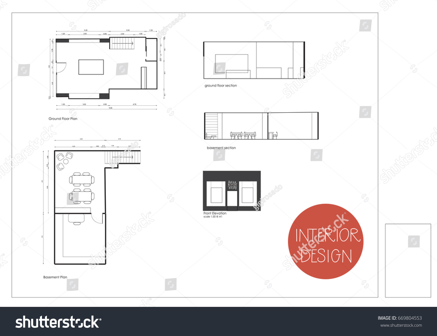 Vector Technical Drawing Floor Plan Section Home House Commercial Project Interior