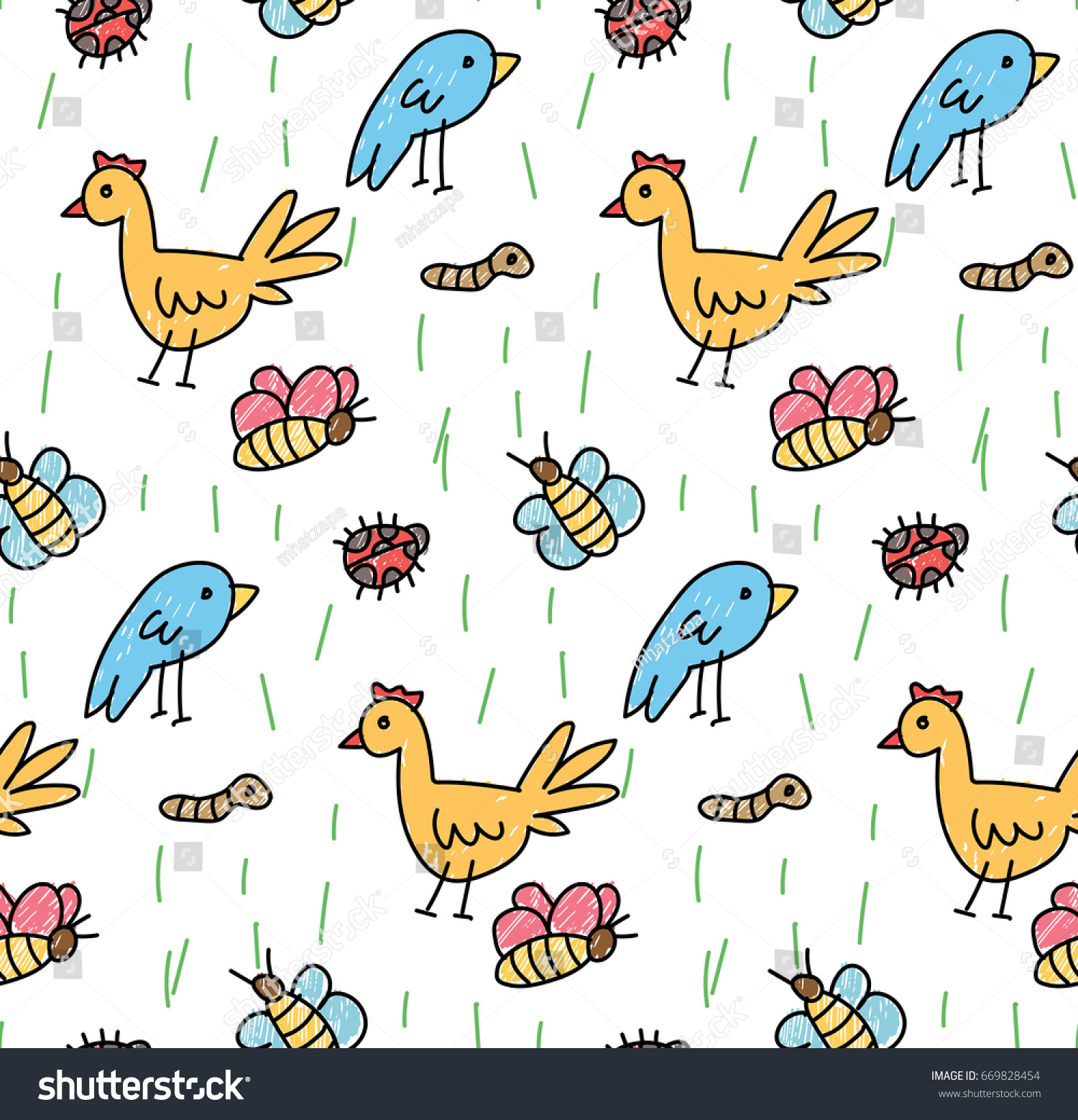 Kid drawing of bird and chicken seamless background