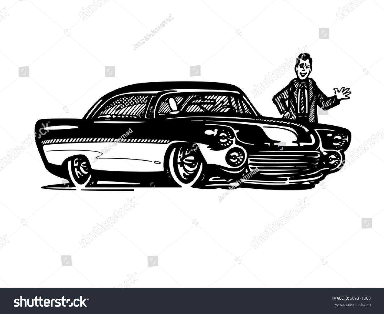 Vintage Muscle Cars Cartoon Sketch Vector Stock Vector 669871000 ...