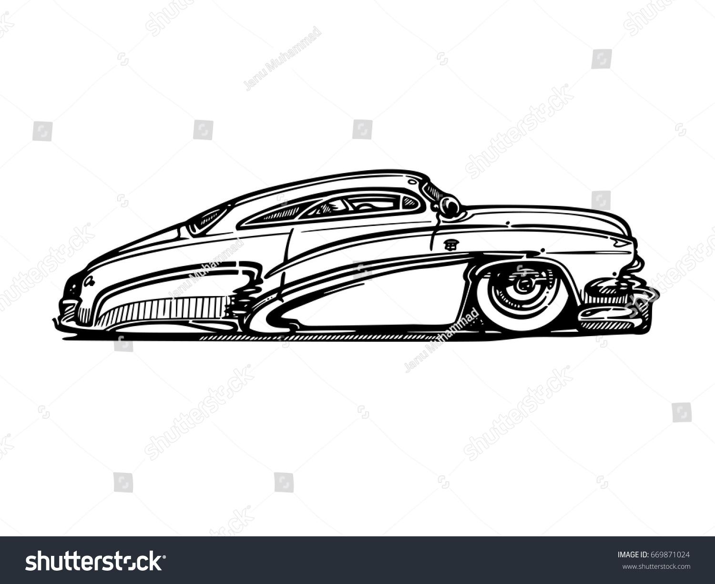 Vintage Muscle Cars Cartoon Sketch Vector Stock Vector 669871024 ...