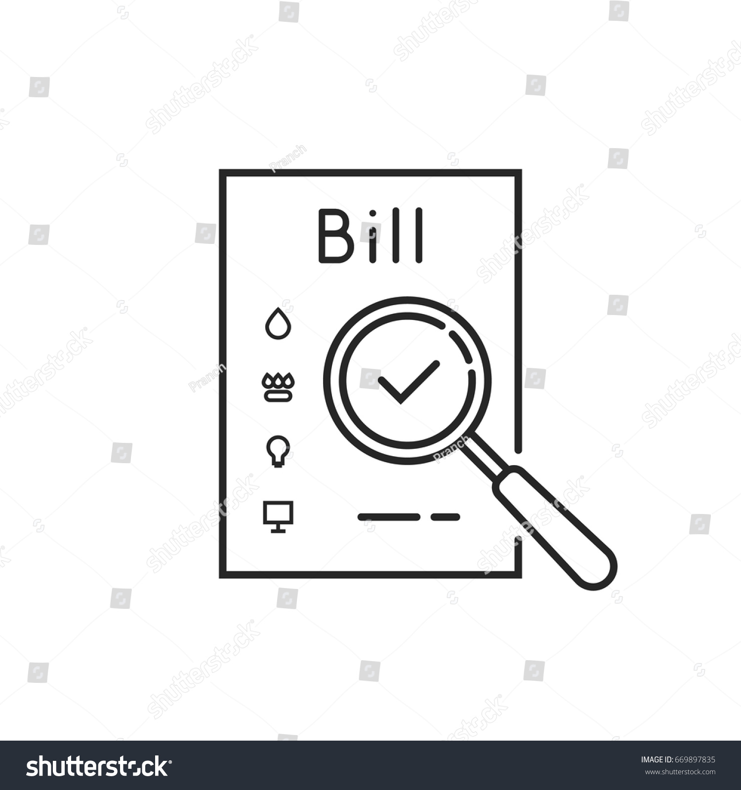 Thin Line Payment Utility Bills Icon Stock Vector (Royalty