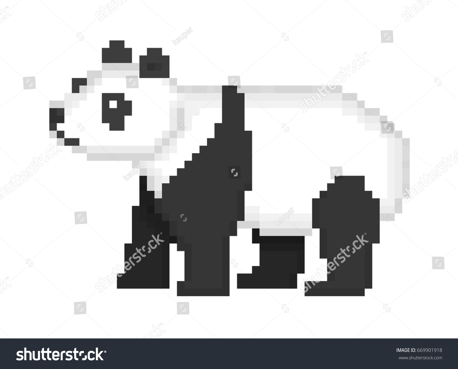Old school 8 bit pixel art stock vector 669901918 shutterstock old school 8 bit pixel art black and white giant panda bear standing on the ground biocorpaavc Image collections
