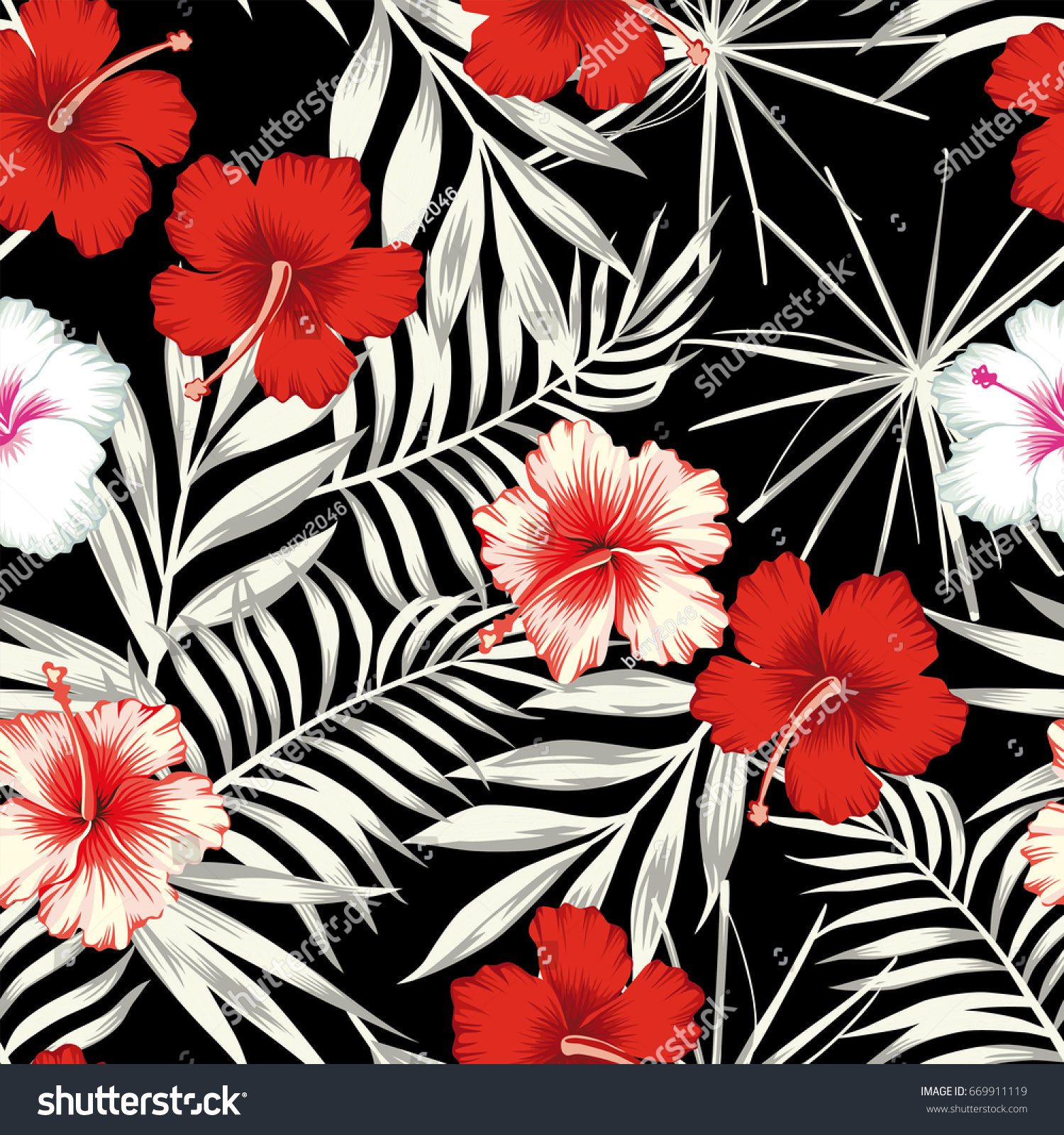 Red White Hibiscus Flowers On Black Stock Vector Royalty Free